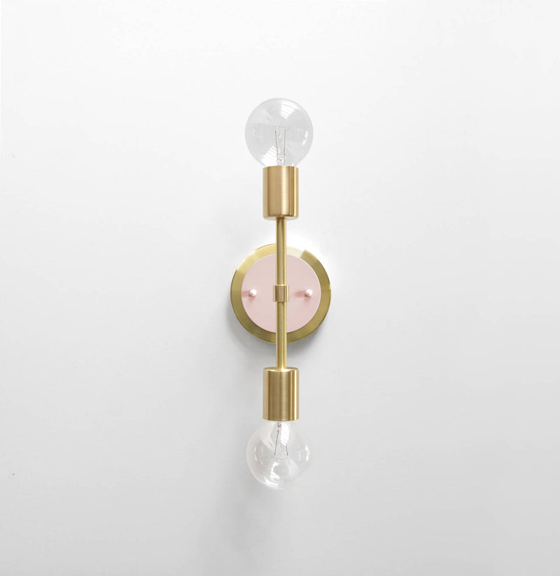 "Modern Brass & Blush Pink Double Bulb Vanity Sconce. ""Spiegel"" by Photonic Studio."