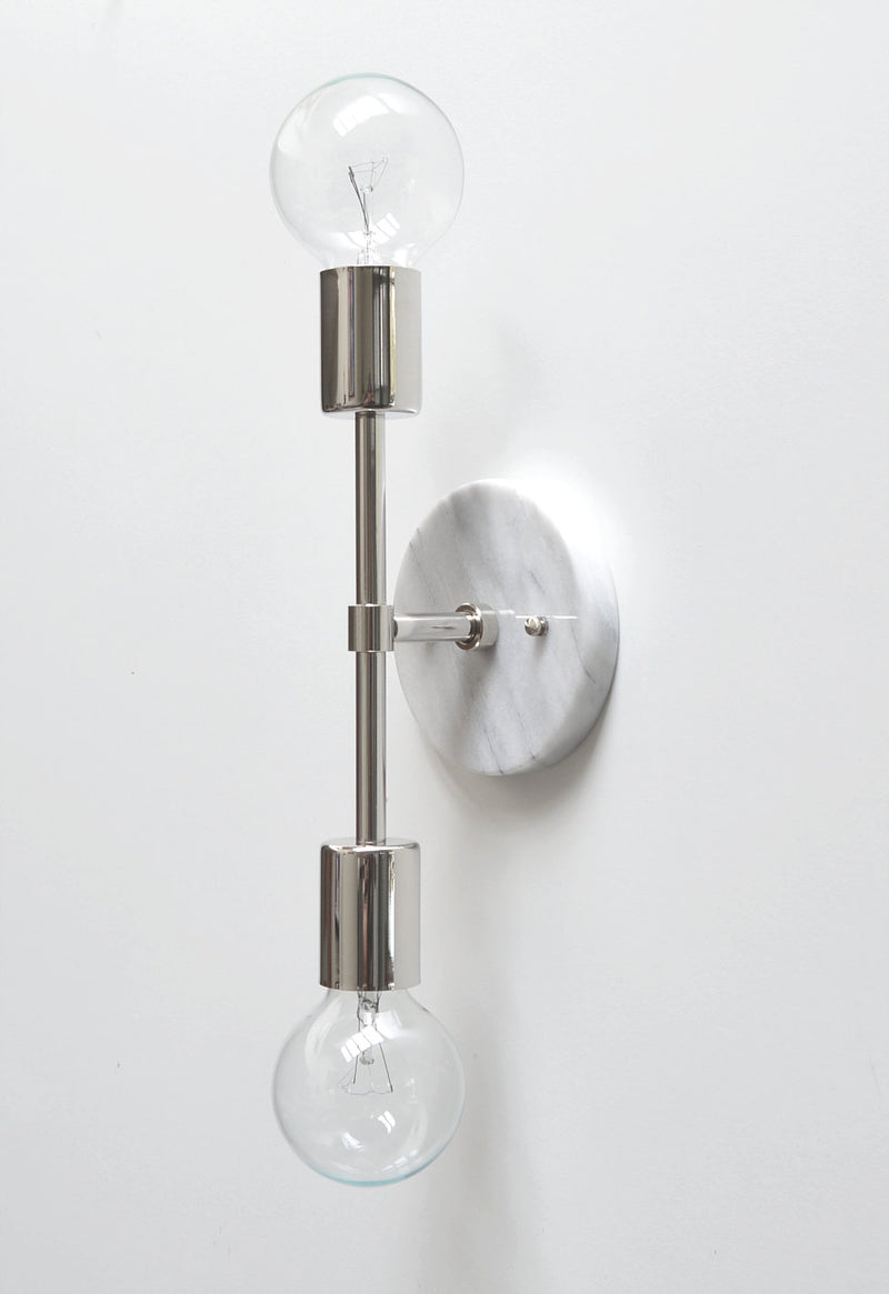 """Spiegel"" White Marble & Nickel Sconce"