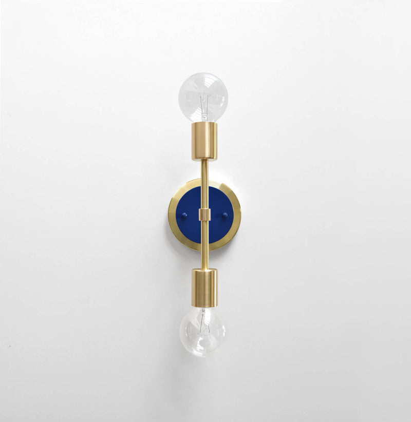 "Modern Brass & Navy Double Bulb Vanity Sconce. ""Spiegel"" by Photonic Studio."
