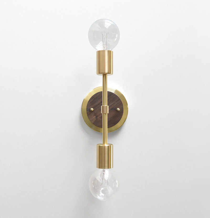 "Modern Brass & Walnut Double Bulb Vanity Sconce. ""Spiegel"" by Photonic Studio."