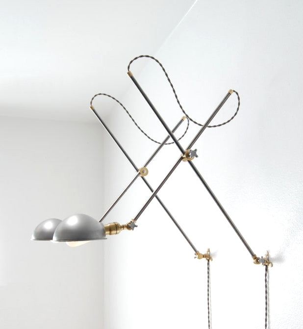 """Worcester"" Adjustable Articulating Brass & Steel Wall Mount Boom Lamp"