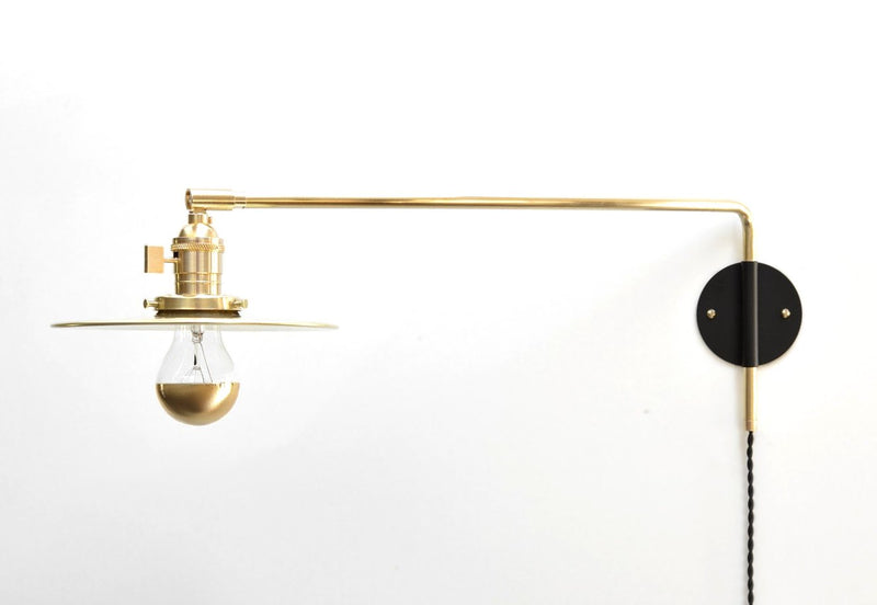 """Szabo"" Modern Industrial Brass & Black Swing Arm Lamp with Brass Flat Shade"