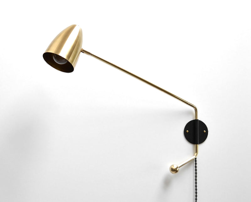 """Tourner"" Modern Brass Potence Lamp with Black Wall Plate, Swing Arm Sconce"