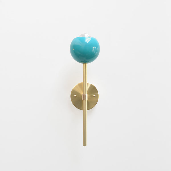 "Modern Brass & Aqua Torchiere Wall Sconce. ""Tulip"" by Photonic Studio."