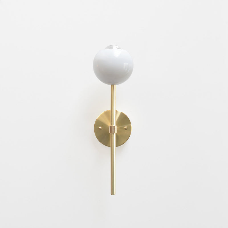 "Modern Brass & White Torchiere Wall Sconce. ""Tulip"" by Photonic Studio."