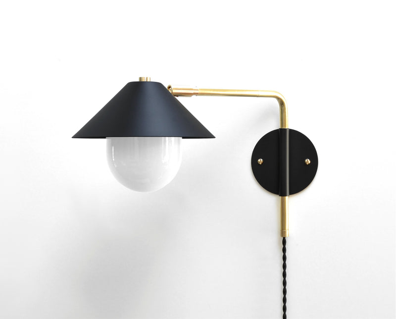 """UFO 180"" Modern Brass & Black Swing Arm Sconce with White Glass Diffuser"