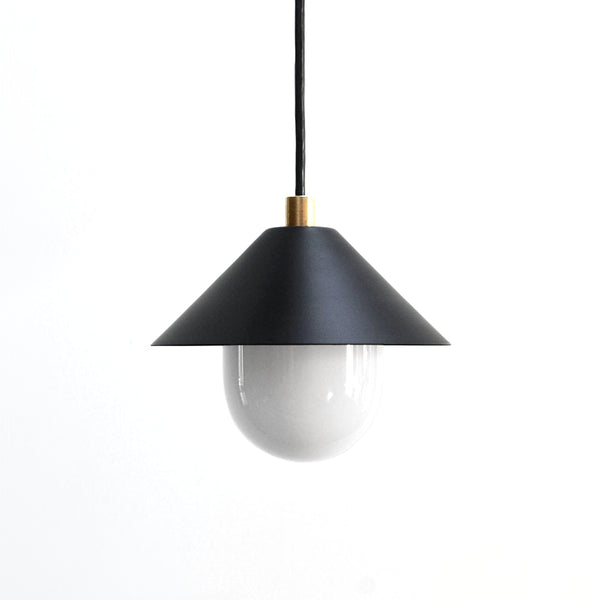 """A51"" Minimal Modern Brass & Black Pendant Light with White Glass Diffuser"