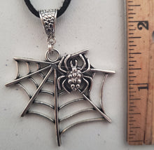 Load image into Gallery viewer, Spider and Web Pendant Suede Leather Necklace