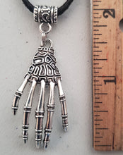 Load image into Gallery viewer, Skeleton Hand Pendant Suede Leather Necklace