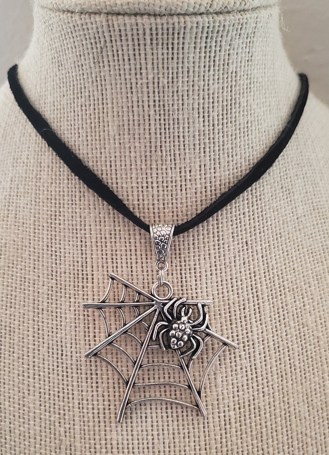 Spider and Web Pendant Suede Leather Necklace
