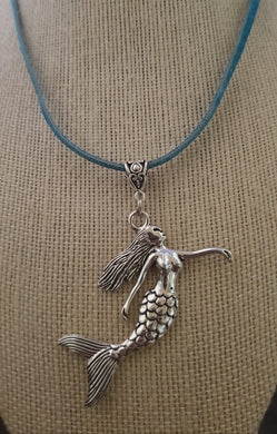 Mermaid Pendant With Teal Colored Suede Leather Necklace