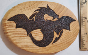 Wood Burnt Flying Dragon Magnet