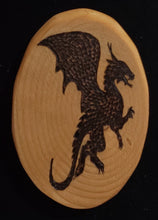 Load image into Gallery viewer, Wood Burnt Upright Flying Dragon Magnet