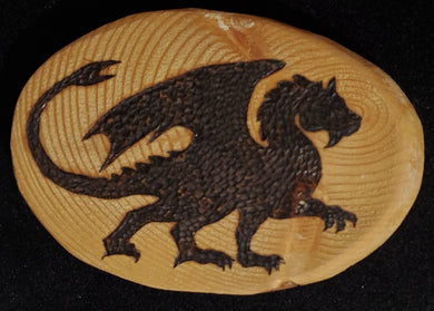 Walking Dragon Wood Burnt Magnet