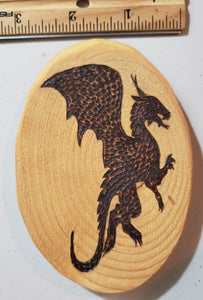 Wood Burnt Upright Flying Dragon Magnet