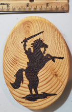 Load image into Gallery viewer, Wood Burnt Knight And Sword On Rearing Horse Magnet