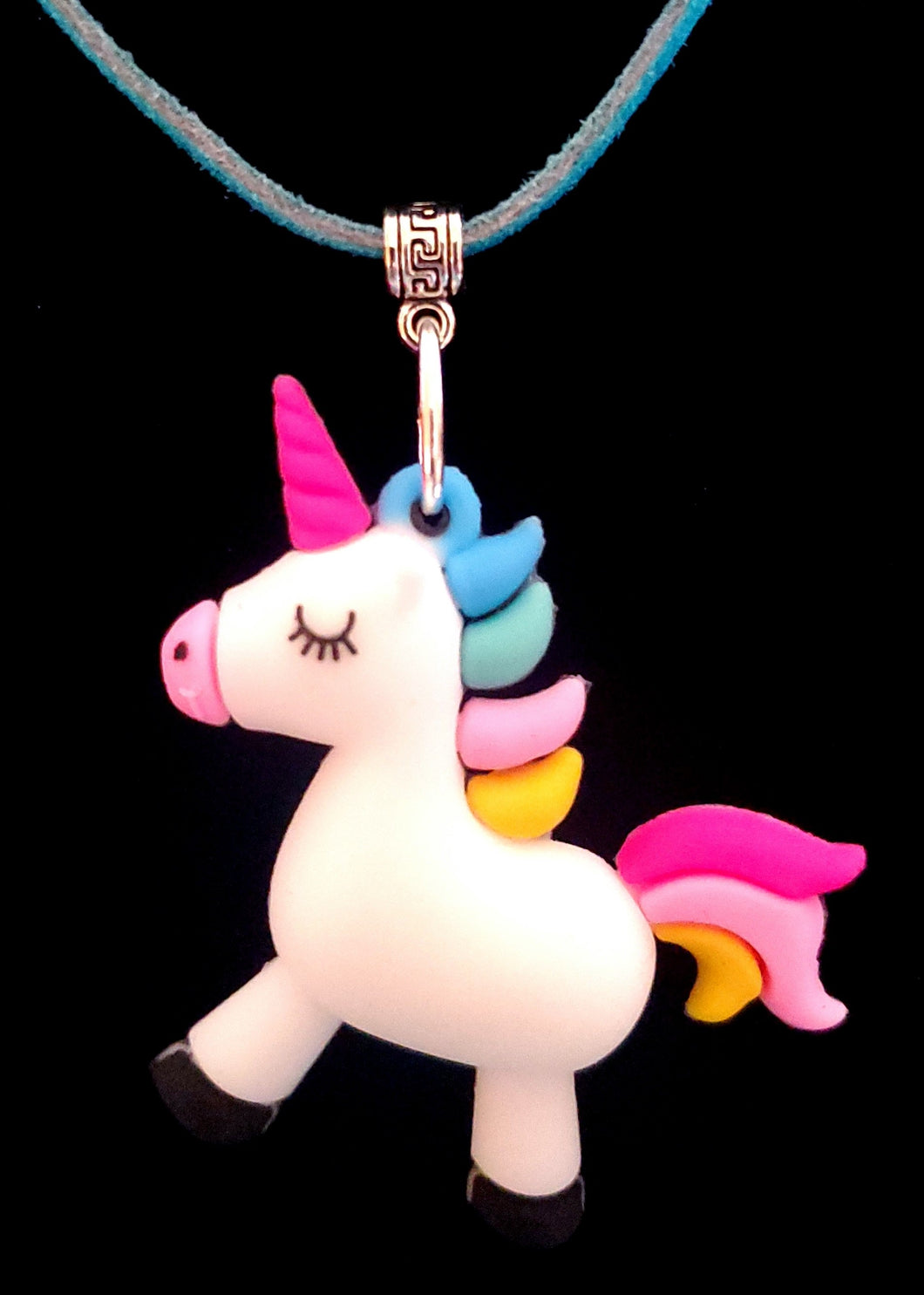 Colorful Unicorn Pendant With Teal Colored Leather Suede Necklace