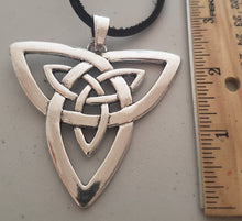 Load image into Gallery viewer, Celtic Knot Pendant With Black Leather Suede Necklace