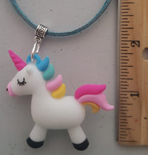 Load image into Gallery viewer, Colorful Unicorn Pendant With Teal Colored Leather Suede Necklace