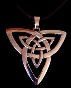 Celtic Knot Pendant With Black Leather Suede Necklace