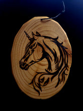 Load image into Gallery viewer, Wood Burnt Gorgeous Unicorn Head Plaque
