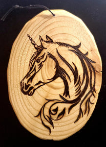 Wood Burnt Gorgeous Unicorn Head Plaque