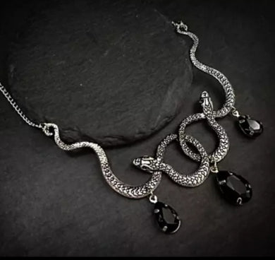 Entwined Double Snake Necklace With Hanging Rhinestones