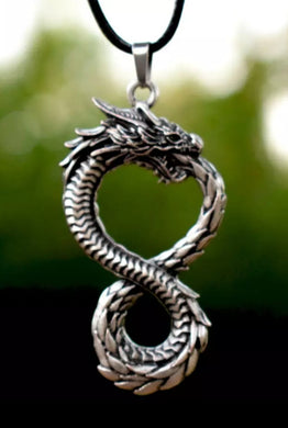 Figure Eight Mens/Womens Dragon Pendant With Cord Necklace