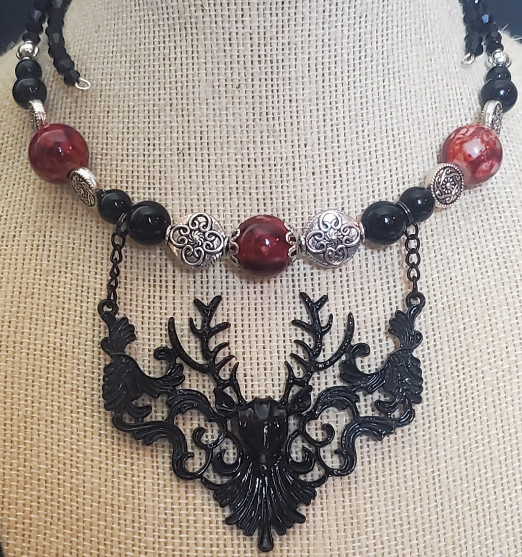 Memory Wire 3D Stag Deer Celtic Choker Necklace