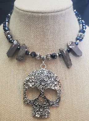 Memory Wire Skull Choker Necklace With Accenting Stones
