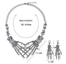 Load image into Gallery viewer, Rhinestone Skeleton Hands Necklace And Earring Set
