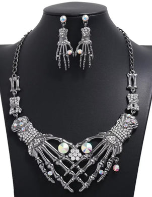 Rhinestone Skeleton Hands Necklace And Earring Set