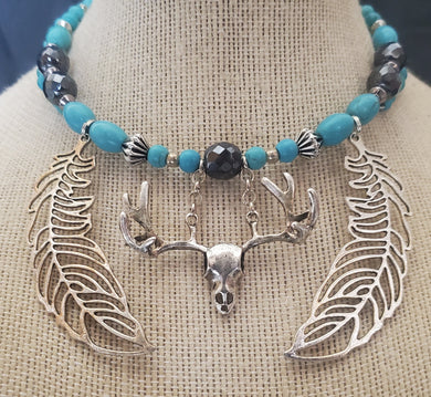 Memory Wire Deer Skull and Feathers Choker Necklace