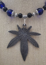 Load image into Gallery viewer, Memory Wire Marijuana Leaf Pendant Choker Necklace