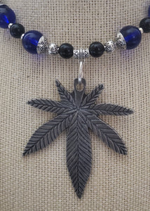 Memory Wire Marijuana Leaf Pendant Choker Necklace