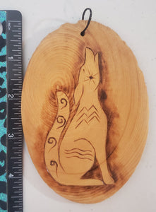 Hand Burnt Coyote Small Wood Plaque