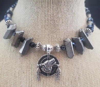 Memory Wire Wolf Choker Necklace With Stones