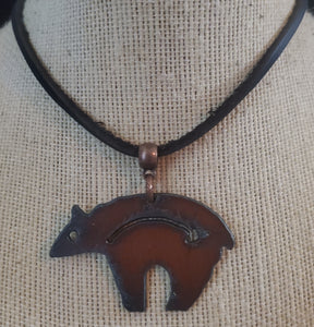 Metal Bear Pendant With Leather/Suede Necklace