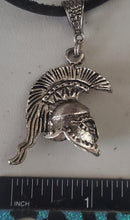 Load image into Gallery viewer, Spartan Helmet Pendant Leather Necklace