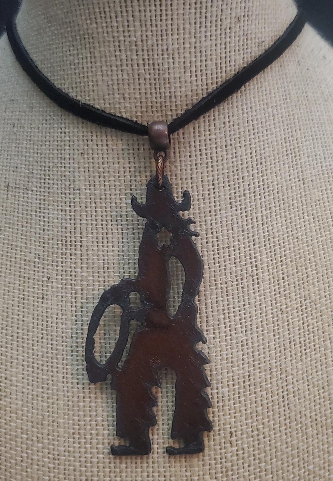 Copper Colored Cowboy Pendant Necklace