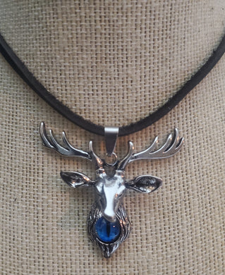 Stag DeerPendant With Blue Eye Goth Necklace