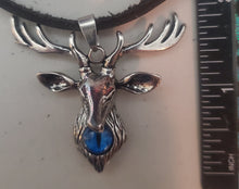 Load image into Gallery viewer, Stag DeerPendant With Blue Eye Goth Necklace