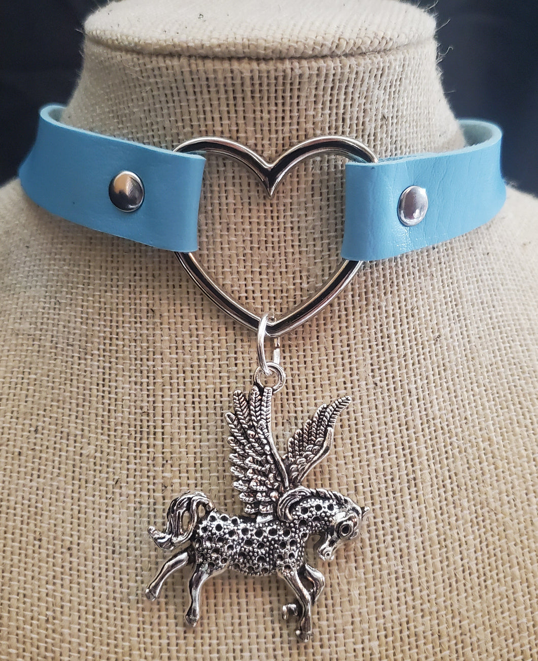 Pegasus and Heart Baby Blue Choker Necklace