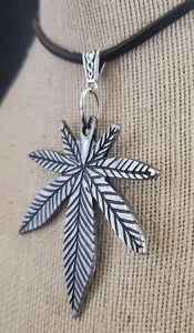 Marijuana Pendant with Leather Necklace