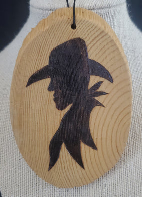 Wood Burnt Cowboy Small Plaque