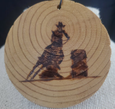Wood Burnt Barrel Racer Small Plaque
