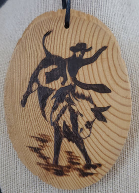 Wood Burnt Bullrider Small Plaque
