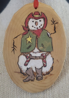 Wood Burnt Snowman Small Plaque
