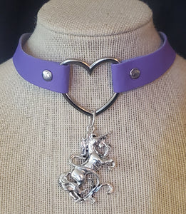 Unicorn Pendant and Heart Choker Necklace