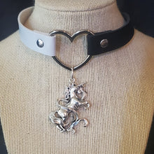 Load image into Gallery viewer, Unicorn Pendant and Heart Choker Necklace